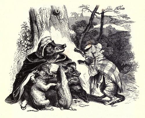015- El aguila la jabalina y la gata-Fabulas La Fontaine-J.Grandville