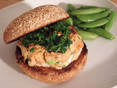 Salmon Burger with Chimichurri Topping