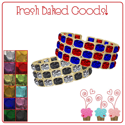 ~*FBG*~ Checkerboard Cookie Gem Cuffs - Gold