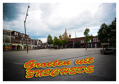Ansichtkaart van Heekplein Enschede (voorkant)