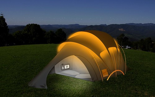 Orange solar tent