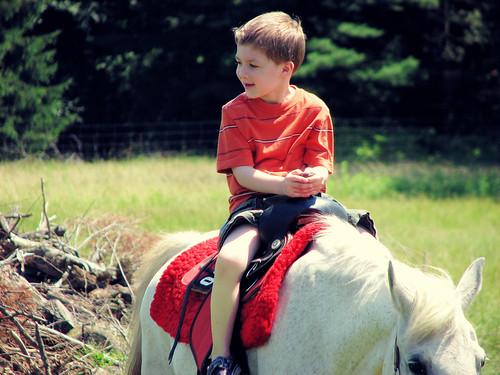 Riding a pony