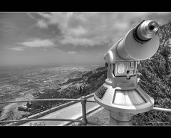 Sicily :: Erice lookout ([ Michel ]) Tags: blackandwhite mountain beautiful photoshop canon eos blackwhite sigma wideangle sicily 1020mm 1020 hdr erice telescoop cs4 sigma1020mm photomatix groothoek sigma1020 450d blackandwhitehdr blackwhitehdr canoneos450d adobephotoshopcs4 photoshopcs4