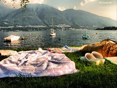 Relax a Locarno (clik_emotion( edificatore di emozioni )) Tags: verde alberi lago locarno vela svizzera 2009 scarpe monti motore zoccoli baeche asciugamani ptrato clikemotion
