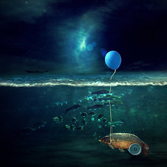 accessories (Martine Roch) Tags: ocean blue sea fish car square boat underwater wheels balloon dream surreal photomontage carp surrealist bizarre dreamcatcher manray petitechose martineroch