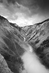 Grand Canyon of the Yellowstone (b&w) (gfpeck) Tags: park white black canyon falls yellowstone lower
