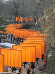 The Gates and Strolling in Central Park (sjnnyny) Tags: centralpark thegates olympusc2040z publicartinstallation sjnnyny