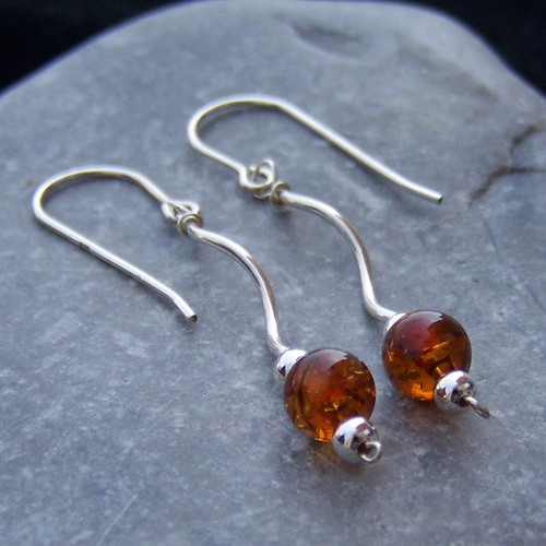 Sterling silver and amber long earrings