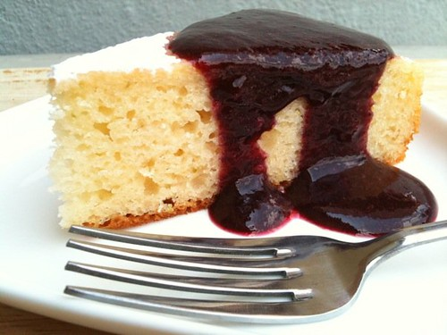 Lime Yogurt Cake with Blueberry Sauce - Life is Great