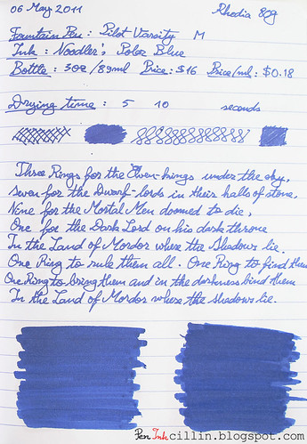 Noodler's Polar Blue on Rhodia 80g