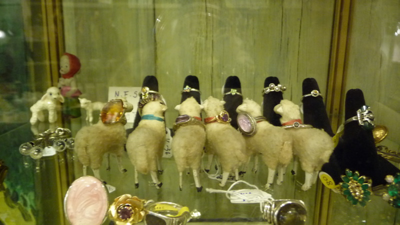 Sheep modeling rings at Loopy Mango