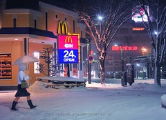 McDonald's (Hirosaki Japan).  Glenn Waters..  2,100 visits to this photo.  Thank you. (Glenn Waters in Japan.) Tags: winter snow japan night umbrella 50mm nikon f14 sigma mcdonalds  hirosaki  japon goldenarches    24h     5photosaday  abigfave d700 nikond700  glennwaters sigma50mmf14exdghsm