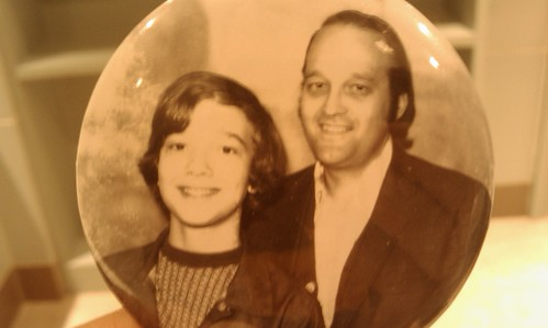 Photo badge of my dad and me, Mid-South fair, 1975