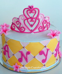 Princess Tiara Cake (TheLittleCupcakery) Tags: birthday pink tiara yellow cake purple princess little blossom mini crown anya tlc fondant cupcakery xirj klairescupcakes