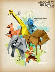 Welcome to the jungle 2, Collage origami (collab) (Javier Piragauta) Tags: verde collage azul digital vintage caballo design flyer origami pattern arte colores retro koala collab animales papel diseo vector zorro afiche patron ardilla elefante vectorial jungla jirafa manchas vectores piragauta collageorigami javierpiragauta welcometothejungle2