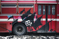 The Pirate Bus (Hannes R) Tags: street bus graffiti sweden stockholm pirates pirate piracy barnhusbron piratbyrn thepiratebay piratebay s23k