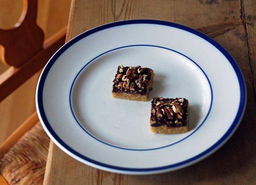 two toffee bars on a plate