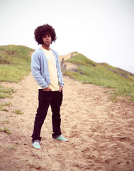 Corey Again (Trevor James Ingraham) Tags: ca portrait black beach colors de sweater los sand montana pastel afro dude trail corey iceplant bluffs oro osos