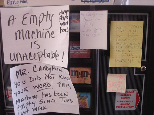 A [sic] Empty Machine is Unaceptable [sic]! Mr. Candyman, you did not keep your WORD! This machine has been empty since Tues last week.