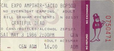 Grateful Dead ticket - 5/3/86 Cal Expo Amphitheatre, Sacramento (borrowed from www.psilo.com)
