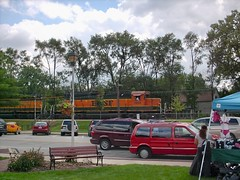 Westbound BNSF Railway freight train. Brookfield Illinois. August 2007.