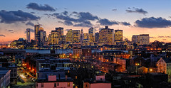 Boston Skyline with East Boston in Foreground (NikonJim) Tags: city longexposure sunset boston skyline night cityscape scenic explore d200 eastboston 24120mmf3556gvr allrightsreserved expored goldstaraward nikonjim