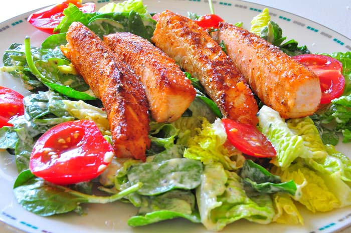 salmon fish stick with green salad