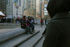 creeping, hehe. (rita d.) Tags: winter ny newyork cute fountain pretty centralpark steps hijab columbuscircle eileen yumna huma hijabi koreangirl purplecoat pakistanigirls december2008 graycoat