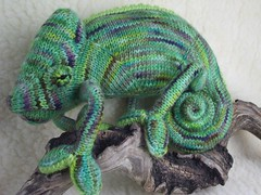 Lounging Chameleon (hansigurumi) Tags: sculpture cute art knitting soft knit plush fiber amigurumi chameleon hansigurumi