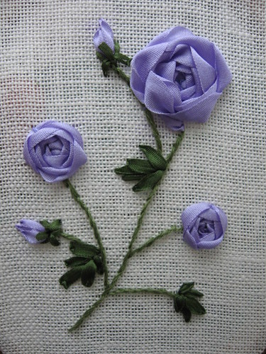 Lavender Roses Ribbon Embroidery