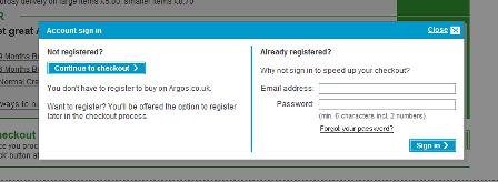 Argos - optional registration