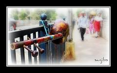 MUSIC on the street (sanJIBS) Tags: road street india canon mumbai dey stringedinstrument fisherwoman lalbaugh sanjib dotara folkinstrument dotar indianmusicalinstrument