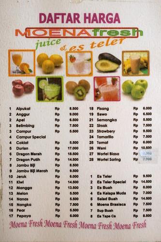 Moena Es Teler menu