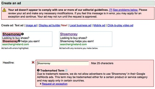 AdWords Banning Shoemoney Term