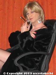 Sexy smoking! (The french secretaire) Tags: woman sexy fur coat cigar smoking tgirl blonde hoops