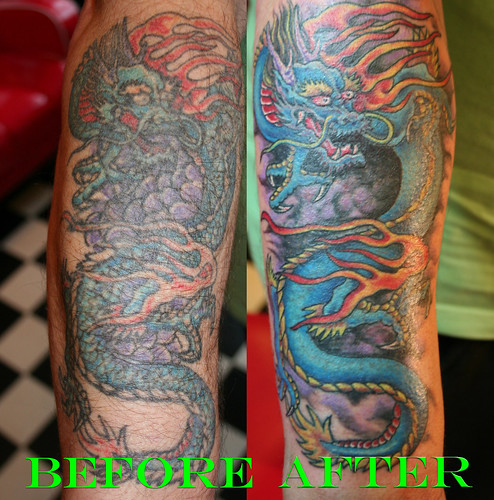 "Tattoos Cover Up "" Tattoo Soulder & on Back Body "" dragon cover up tattoo by Mirek vel Stotker"