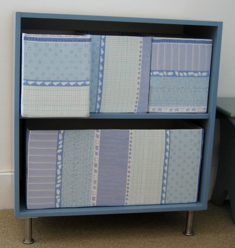 Blue changing table shelf
