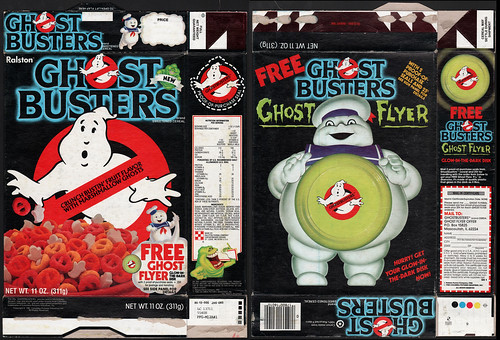 Ralston - Ghost Busters cereal box - free ghost flyer - 1985