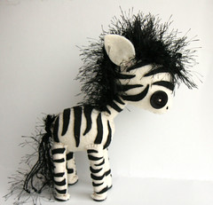 custom zebra (Skunkboy Creatures.) Tags: blackandwhite horse animal felt plush zebra etsy custom skunkboycreatures