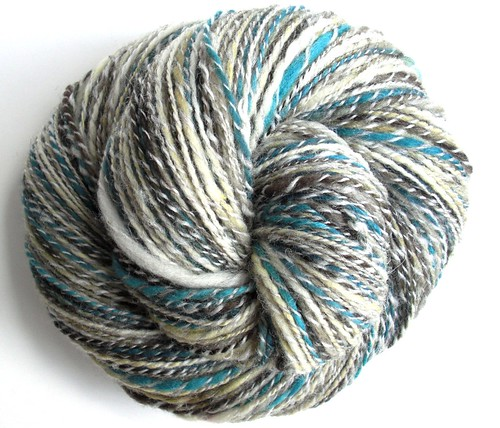 merino teal&tan with coopworth~ 283yds-12WPI