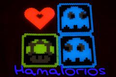 """Regalitos hechos con Hama Midi """"Glow in the dark"""" (Hamalorios) Tags: mushroom dark glow heart ghost glowinthedark pacman midi seta fantasma corazon hama oscuridad brilla hamabeads"""