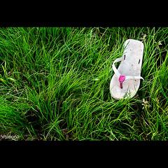 Forever young (Valerio.I) Tags: summer italy verde green abandoned lost shoe italia child sad estate acid erba flipflops innocence prato spiaggia scarpa infradito castelgandolfo abbandonato inthegrass theredpill innocenza fotodromoalbano valerioifoto lescarpedellagoalbano