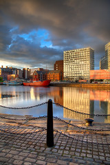 Canning Dock and One Park West, Liverpool (John_Kennan) Tags: sky reflection water liverpool waterfront hdr highdynamicrange mersey photomatix photomatixpro canningdock oneparkwest