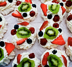 A mle of meringues (Sian Bowi) Tags: food dessert strawberries kiwi rasberries blueberries meringues mle abigfave