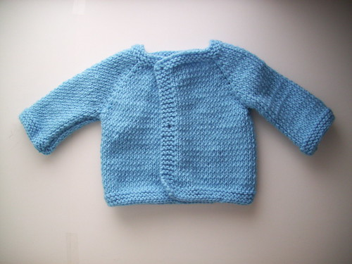 FO: Blue Knit Baby Sweater - Jenn Likes Yarn