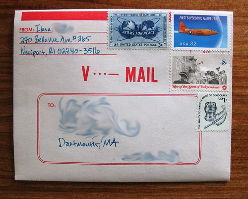 V-Mail letter (modern on vintage) with vintage stamps