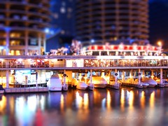 mini-Marina City docks (christiaan_25) Tags: city chicago water night docks lights miniature chicagoriver marinacity tiltshift 1stplacef2fchallenge