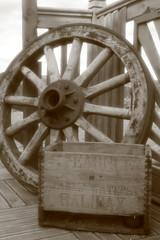 Cart wheel (Sazzyb80) Tags: wood sepia circle round canon350d softfocus halifax cartwheel woodenbox woodenwheel