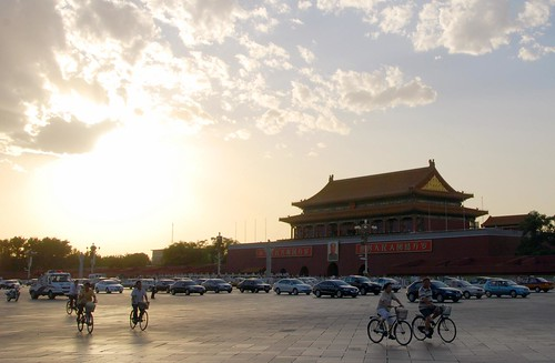 sunset over the forbidden city, beijing