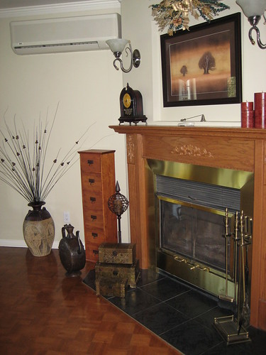wood fireplace upstairs